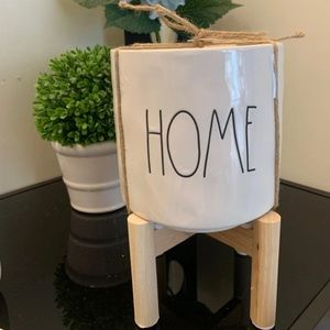 Rae Dunn Home planter pot on wood stand